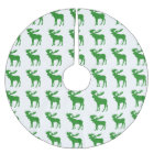 Simple green moose pattern tree skirt