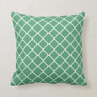 Simple Green Quatrefoil Throw Pillow