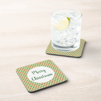 Simple Green Red Dot Merry Christmas Cork Set of 6 Coaster
