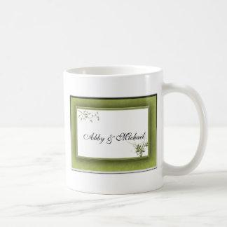 Simple Green Wedding Floral Mugs