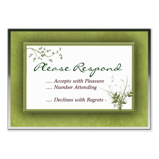 ... Green Wedding Floral RSVP Large Business Cards (Pack Of 100) : Zazzle