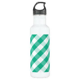 Simple Green white St Patrick gingham pattern 710 Ml Water Bottle