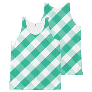 Simple Green white St Patrick gingham pattern All-Over-Print Tank Top