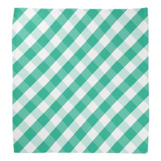Simple Green white St Patrick gingham pattern Bandana