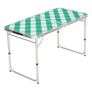 Simple Green white St Patrick gingham pattern Beer Pong Table