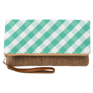 Simple Green white St Patrick gingham pattern Clutch