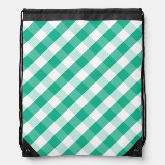 Simple Green white St Patrick gingham pattern Drawstring Bag