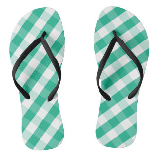 Simple Green white St Patrick gingham pattern Flip Flops