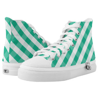 Simple Green white St Patrick gingham pattern High Tops