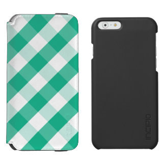 Simple Green white St Patrick gingham pattern Incipio Watson™ iPhone 6 Wallet Case