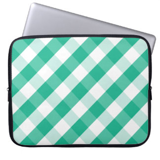 Simple Green white St Patrick gingham pattern Laptop Sleeve