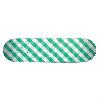 Simple Green white St Patrick gingham pattern Skate Boards