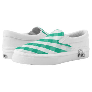 Simple Green white St Patrick gingham pattern Slip-On Sneakers