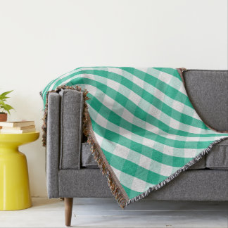 Simple Green white St Patrick gingham pattern Throw Blanket