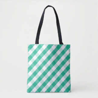 Simple Green white St Patrick gingham pattern Tote Bag