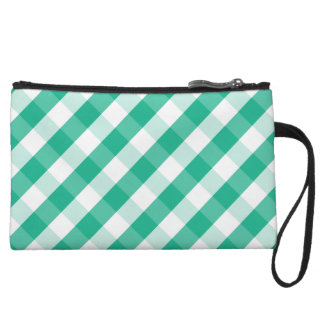 Simple Green white St Patrick gingham pattern Wristlet