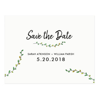 Simple Greenery Save The Date Postcard
