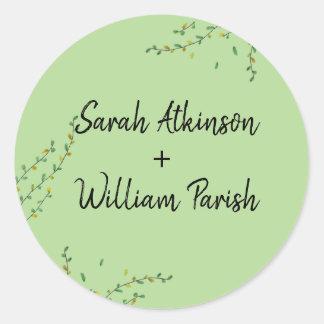 Simple Greenery Wedding  Sticker