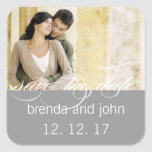 Simple Grey Photo Save the Date Wedding Sticker