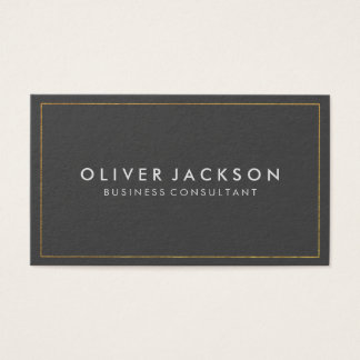 Simple Grey with Gold Border Business Card