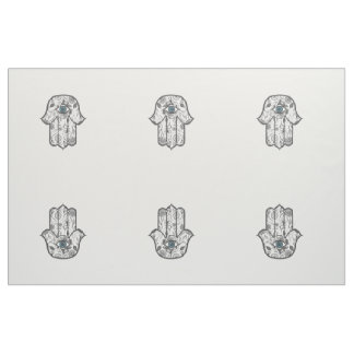Simple Hand Drawn Floral Hamsa Hand Fabric