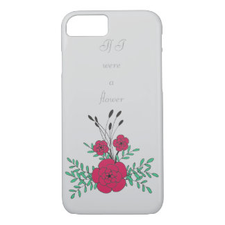 Simple hand drawn red green floral boutineer iPhone 7 case