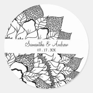 Simple handdrawn floral mandala black white classic round sticker