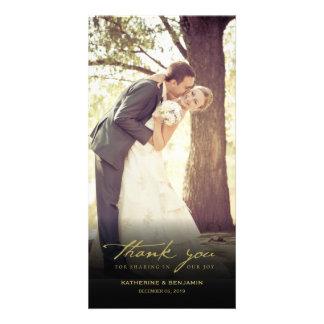 Simple Handwrite Script Classy Wedding Thank You Photo Card Template