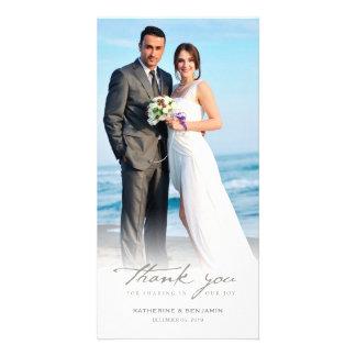 Simple Handwrite Script Classy Wedding Thank You Photo Greeting Card