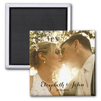 Simple Handwriting Wedding Photo Square Magnet