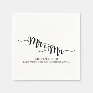 Simple HANDWRITTEN Mr & Mr WEDDING PAPER NAPKINS