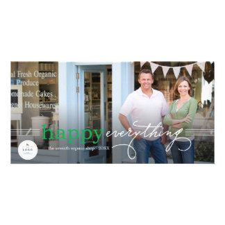 Simple Happy Everything Logo Holiday Photo Card