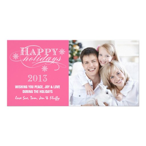 SIMPLE HAPPY HOLIDAYS 2013 GIRLY PINK PHOTO CARD TEMPLATE