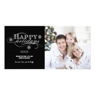 SIMPLE HAPPY HOLIDAYS SCRIPT HOLIDAY PHOTO CARD