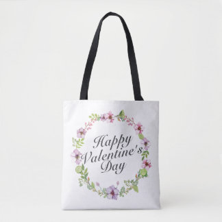 Simple Happy Valentine's Day Floral Tote Bag