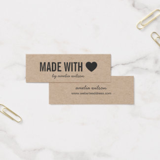 Simple Heart Rustic Made with Love Kraft Mini Business Card