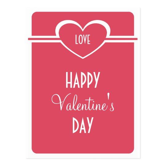 Simple Heart Valentine's Day Postcard, Dark Pink Postcard