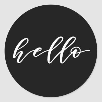 Simple Hello Design in Beautiful Typography Script Classic Round Sticker