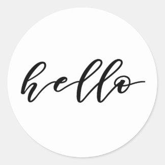 Simple Hello Design in Beautiful Typography Script Classic Round Sticker
