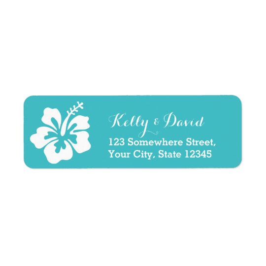 Simple Hibiscus Turquoise Wedding Return Address