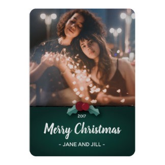 Simple Holly Christmas Holiday Flat Card