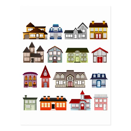 Simple Houses Postcard