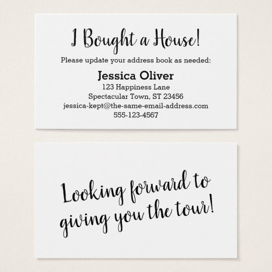 "Simple ""I Bought a House!"" Card on Editable White"
