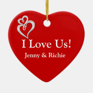 SIMPLE -I Love Us Heart Onament PERSONALIZED  NAME Double-Sided Heart Ceramic Christmas Ornament