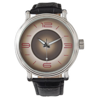 Simple in Tan with Red Numerals >Mens Watches