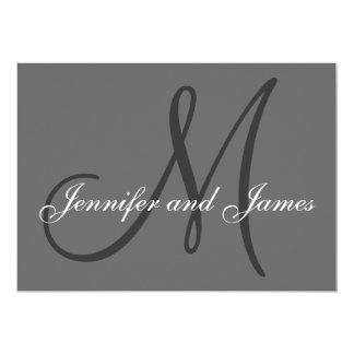 Simple Initial Wedding Invitation Names Grey