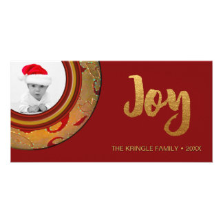 Simple Joy Holiday Photo Card Red Gold