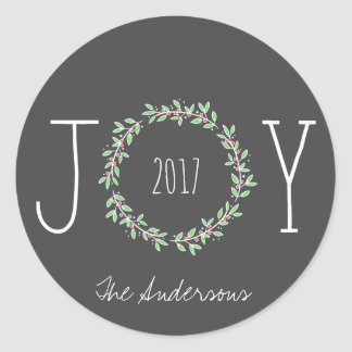 Simple Joy Wreath Dark Gray Christmas Holiday Classic Round Sticker