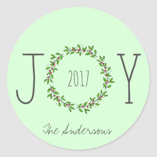 Simple Joy Wreath Mint Green Christmas Holiday Classic Round Sticker