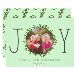 Simple Joy Wreath Mint Green Christmas Photo Card